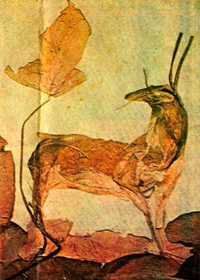 Collage of Deer made by dried leaves